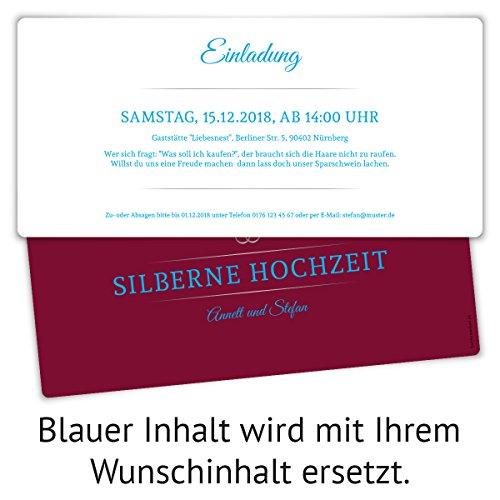 20 x Silberne Hochzeit Einladungskarten Silberhochzeit Einladungen ...
