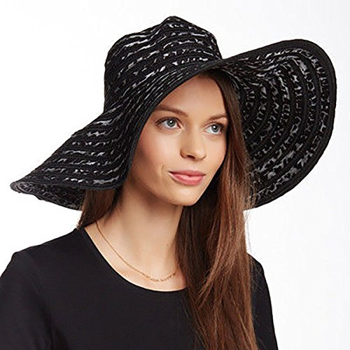 August Accessories Women's Animal-Print Wide Brim Floppy Sun Hat, Black & Grey Animal Rights Womens Cap
