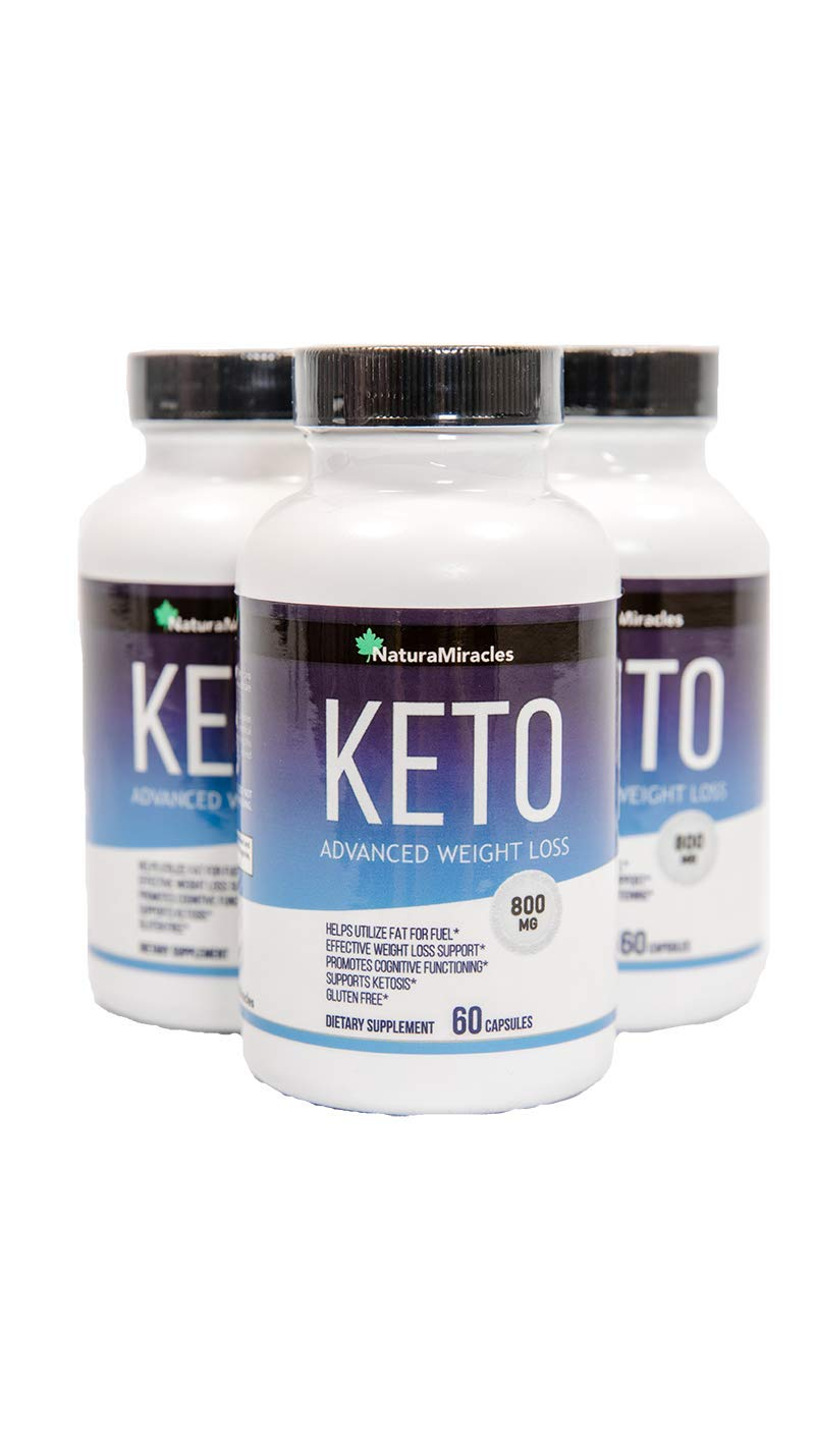 Keto Diet Advanced Fat Burner by Natura Miracles -800MG - Burn Fat Instead of Carbs - Advanced Weight Loss Ketosis Supplement - 180 Capsules - 90 Days Supply (3 Bottles)