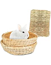 Bunny Grass Mat Bed 3-Pcs,Rabbit Digging Natural Woven Straw Mats Bedding,Guinea Pig Timothy Hay Resting Basket,Pet Cage Chewing Toys for Hamster Chinchilla Ferret Gerbil