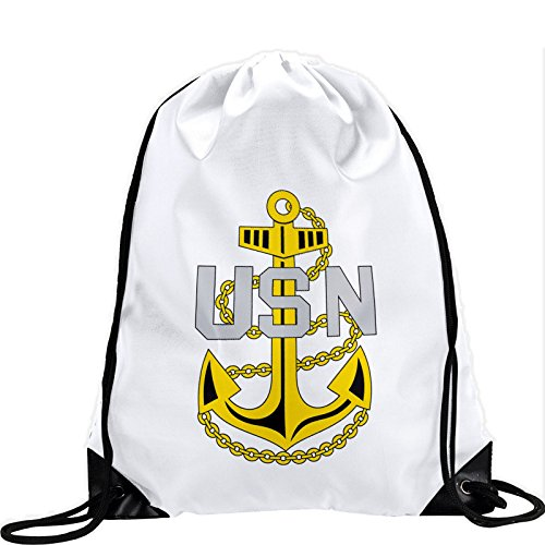 Express It Best Large Drawstring Bag with US Navy Chief Petty Officer, Rank ins (Collar Device) - Long Lasting Vibrant Image