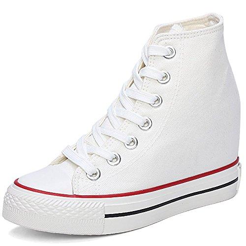Odema Zapatillas de deporte de muy buen gusto de la lona del estilo de las mujeres de <br>                         <br>                              blanco