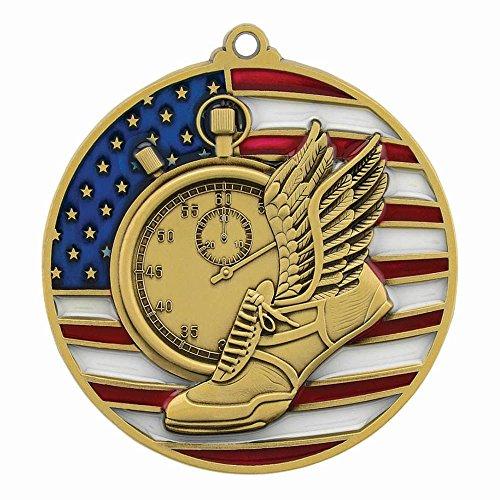 Gold Patriotic Track & Field Medal - 2.75
