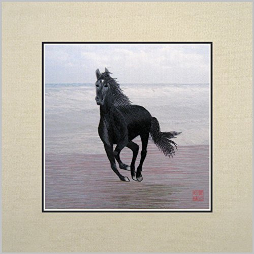 King Silk Art 100% Handmade Embroidery Multiple Unframed Black Horse On Beach Oriental Wall Hanging Art Asian Decoration Tapestry Artwork Picture Gifts 34123W