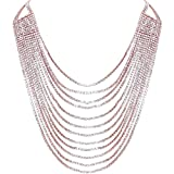 Humble Chic Darling Waterfall Bib Necklace Multi-Strand Chain CZ Simulated Diamond Collar, Rose Gold-Tone, Metallic Pink