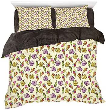 Homenon Yummy Cupcakes Chocolate Party Cherry Cones Fruit Sweet Kids Nursery Theme,3D Printed in Flannel Duvet Cover Set,Decorated on a 6ft Bed,4 Piece Bedding Set,King Size,Multicolor