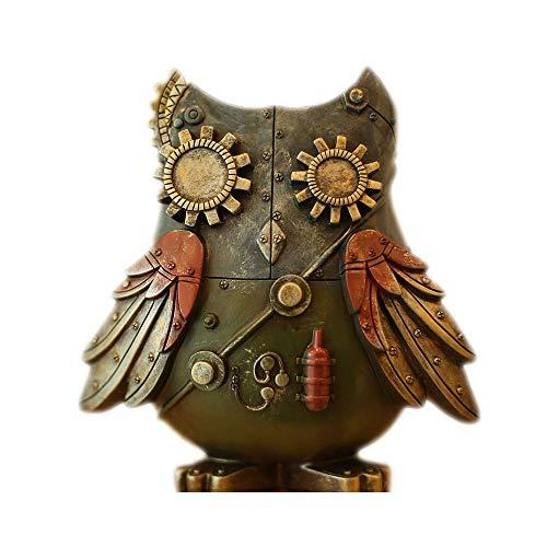 - AliGift 9 Inches Retro Mechanical Owl Piggy Bank, Steampunk Wind Large Capacity Piggy Bank, Desktop Decoration, Resin Piggy Bank