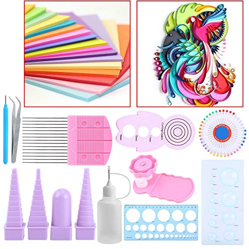 Craft Paper - 11 Pcs Paper Quilling Kit Stripes Diy Width Assorted Color Origami Craft Decorating Artwork - Table Folders Squares Craft Nautical Print Tape Notes Paper Storage Mailers Favor Ba
