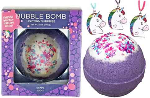 Girls Unicorn BUBBLE Bath Bomb with Surprise Necklace Inside by Two Sisters Spa, Best Birthday Gift Idea, Large Scented Spa Fizzy, Fun Color, Lush Scent, Kid Safe, Vegan, Hand-made in USA