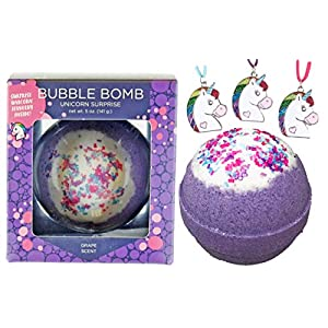 Bubble Bath Bomb with Surprise Necklace Inside for Girls, Birthday Gift Idea, Large Scented Spa Fizzy, Fun Color, Lush Scent, Kid Safe, Vegan, Hand-made in USA