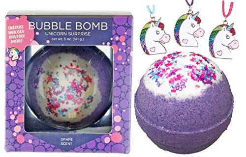 Girls Unicorn Bubble Bath Bomb with Surprise Kids Necklace Inside by Two Sisters Spa. XL Large Lush Fun Spa Fizzy Gift. 99% Natural. Safe Kid Friendly Ingredients. USA Made. Purple Color, Grape Scent. -