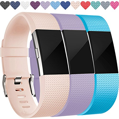 Wepro Replacement Bands for Fitbit Charge 2 HR, Buckle, 3 Colors, Large