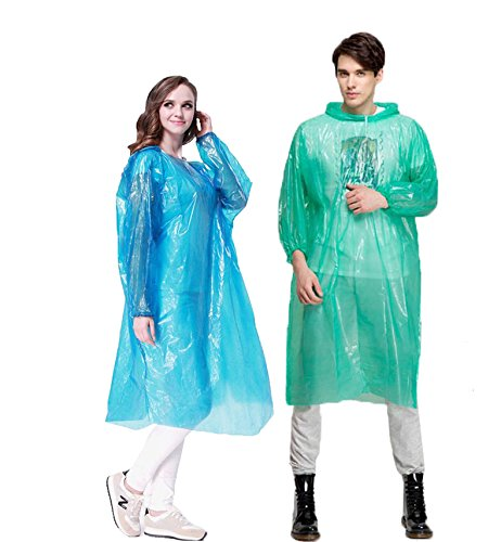 Emergency Rain Ponchos for Adults Disposable, QH Portable Rain Poncho with Hood Sleeves and Drawstring, Mens/Womens/Kids Poncho(One Size Fits All) for Disney, Cycling, Fishing, 4 Colors