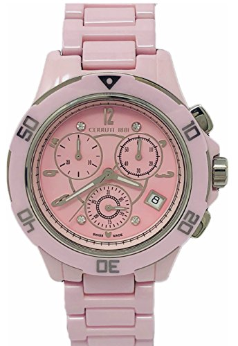 Cerruti 1881 Ladies Chronograph Ceramic Watch Pink with Ceramic Bracelet Diamond CRWM033Z291R