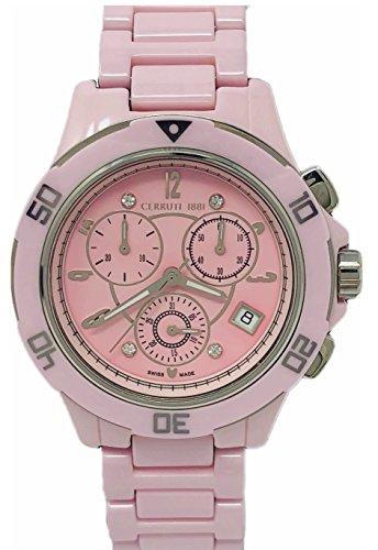 Cerruti 1881 Ladies Chronograph Ceramic Watch Pink with Ceramic Bracelet Diamond CRWM033Z291R