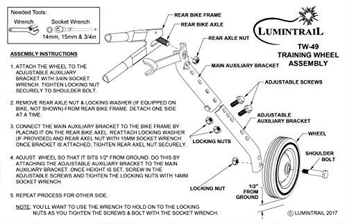 "Lumintrail Heavy Duty Adjustable Bike Training Wheels for 20"" to 26"" Bicycles by Lumintrail (Image #4)"