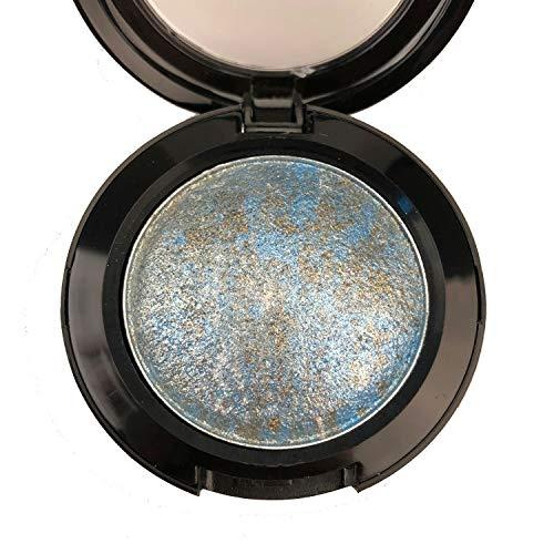 (Mallofusa Single Color Baked Eye Shadow Palette Glitter Powder in Shimmer 15 Metallic Colors Optional (Ice Blue))