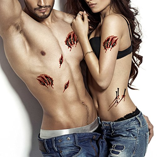 TAFLY Body Scar Tattoo Temporary Stickers Halloween Zombie Tattoos 3D Gory Scar And Wound Stickers 5 Sheets -