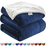 KAWAHOME Sherpa Blanket Extra Warm Thick Winter Blanket for Couch Sofa Bed Twin Size 66 X 90 Inches Navy Blue