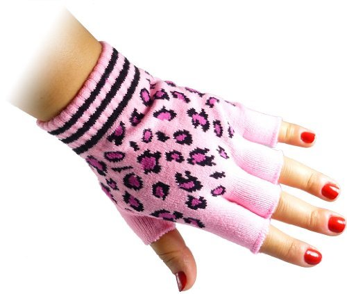 JTC Belt Unisex Half Finger Stretchy Fingerless Gloves One Size Fits Most Cheetah Pink