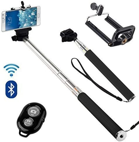 Black N4U Online/® Samsung Galaxy A8 Premium Handheld Selfie Stick Monopod Extendable Function with Adjustable Phone Holder Comes With Bluetooth Wireless Shutter Remote Control