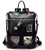 Women Backpack Purse Faux Leather Rucksack Bag for Ladies Small Convertible Bag Travel Handbag, Black