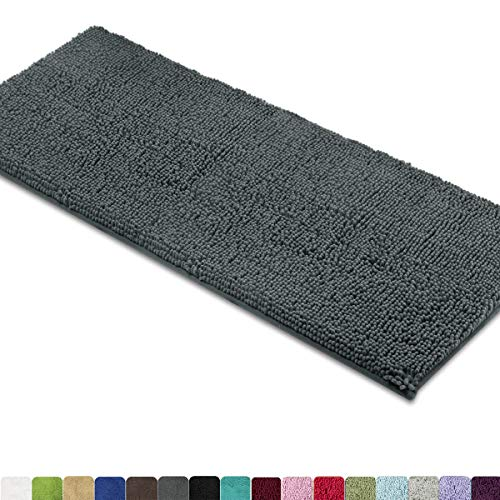 MAYSHINE Bath mat Runners for Bathroom Rugs47X275inch Long Floor mats Extra Soft Absorbent Thickening Shaggy Microfiber MachineWashable Perfect for Doormats Tub ShowerDark Gray