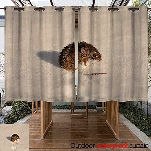 WinfreyDecor Outdoor Ultraviolet Protective Curtains Mouse on Snow W96 x L72]()