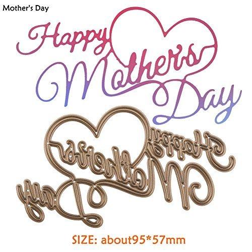 Whitelotous Carbon Steel Happy Mother's Day Cutting Dies DIY Stencil Album Craft Gift