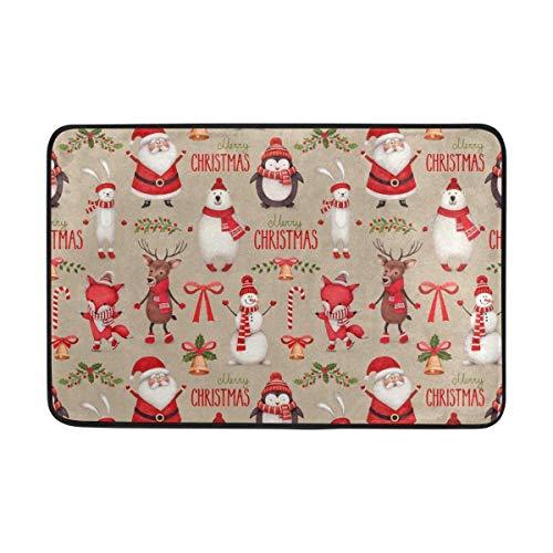 Fun Qiaoya Anti Slip Welcome Door Mat Merry Christmas Father Snowman Deer Jingle Bell Entrance Doormat Indoor Outdoor for Home Decor, Size 23.6x15.7 inch/40x60cm -