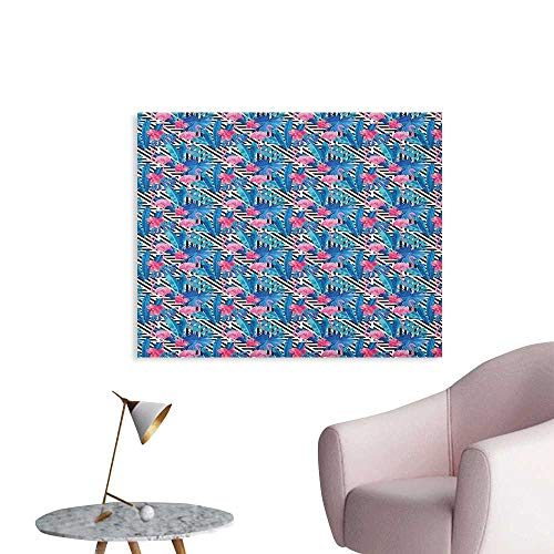 Anzhutwelve Banana Leaf Photographic Wallpaper Watercolor Tropic Pink Flamingos and Orchid with Blue Floral Plant Jungle Palm Poster Paper Multicolor W32 xL24