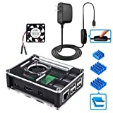 Miuzei Raspberry Pi 3 B+ Case with Fan, 5V 3A Power Supply with ON/Off Button, 3 Pcs Heat Sinks for Raspberry Pi 3 Model B+, Compatible with Raspberry Pi 3 Model B, Raspberry Pi 2 Model B