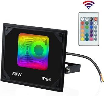 Luxvista 50W Foco Reflector RGB LED Proyector Colorido de 16 ...