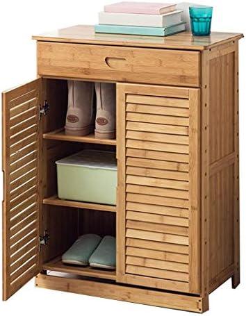 靴ラックホームポーチ竹シンプルモダンシューズキャビネット多機能ロッカー、2ドア、1引き出し、調節可能な床間隔、防水、66 x 33 x 88 cm ++