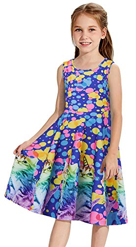 Little Girl Birthday Dress Unicorn Dress Kitty Adorable Colorful Polk Dot Twirly 4-5T Summer Sleeveless Tunic Floral Printed Casual Swing Dresses Blue Unicorn Birthday Shirt Play Play Wear for Holiday