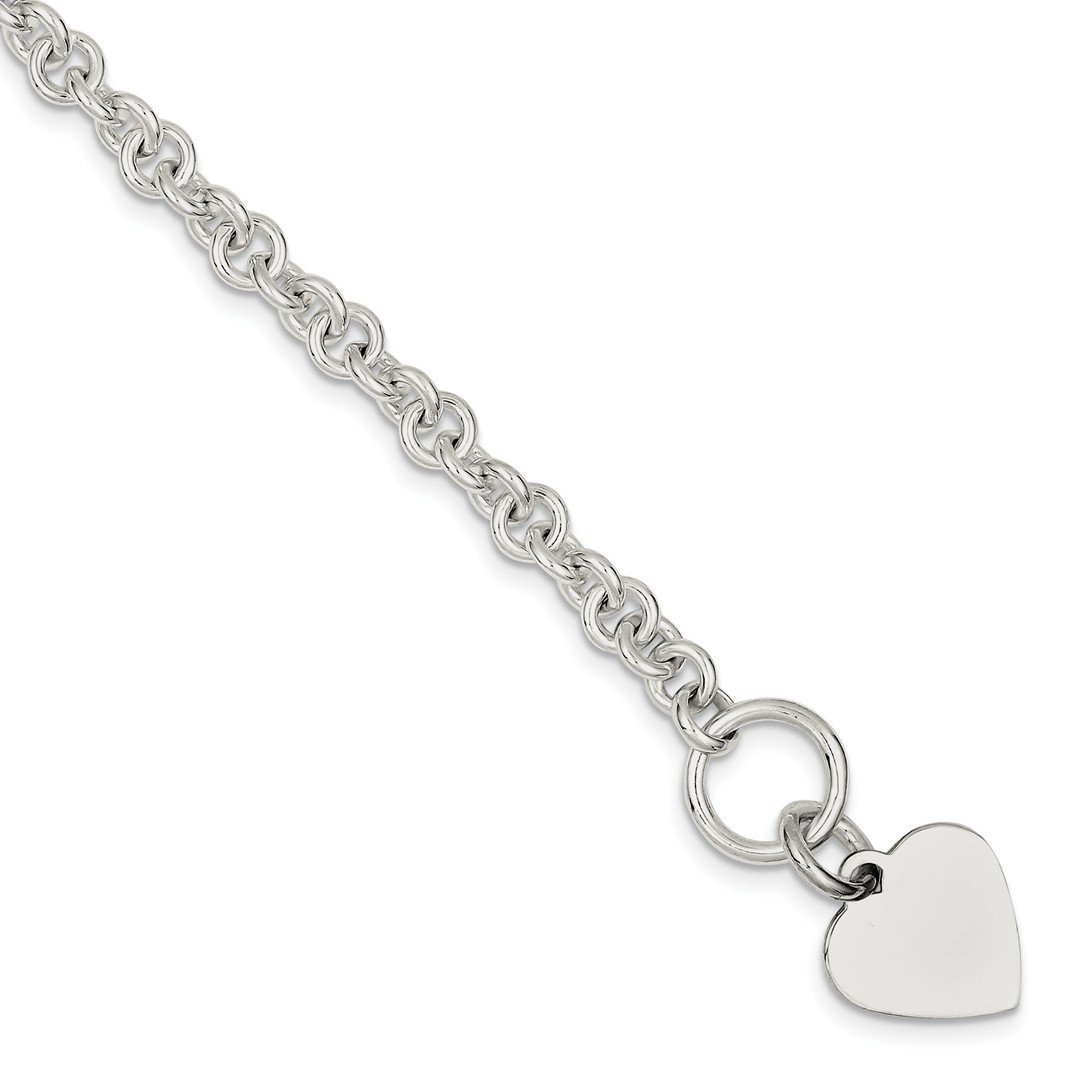 ICE CARATS 925 Sterling Silver Engraveable Heart Disc On Link Toggle Bracelet Charm /love Fine Jewelry Gift Set For Women Heart
