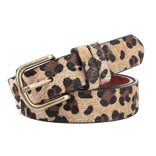 Leotruny Leopard Print Leather Belt Women Artificial Horse Hair Waist Belt With Alloy Buckle (C02-Dark Leopard Print, L(for waist size 36-41Inch))