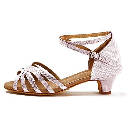 Roymall Women's Light Pink Synthetic Latin Dance Shoes Ballroom Salsa Tango Performance Shoes,Model WZJ-XGG, 6 B(M) - 4 Light Tango