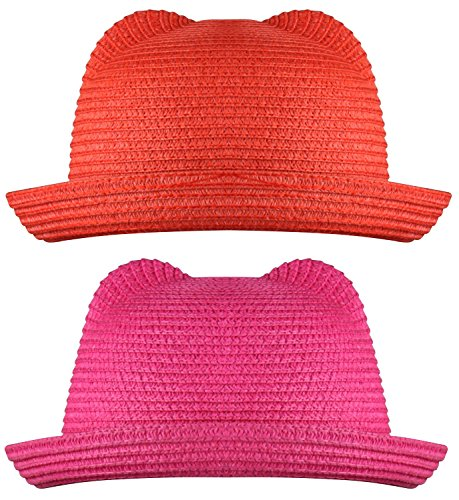 [WDSKY Pink Fedora Hat Red Fedora Hat Classic Fedora Red and Hot Pink 2 Pcs] (Red Felt Cowboy Hat With Band)