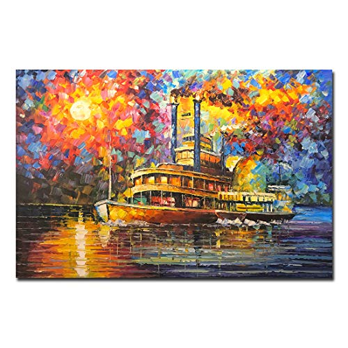 Fasdi-ART Large Oil Paintings on Canvas Frame Art 100% Hand-Painted Contemporary Artwork Abstract Sail Ship Nature Wall Art livingroom Bedroom Dinning Room Decorative Home Decor(DF035, ()