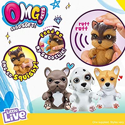 OMG Pets - Soft and Squishy Interactive Tactile Puppy Comes to Life, Cries and Eats - Yorkie: Toys & Games