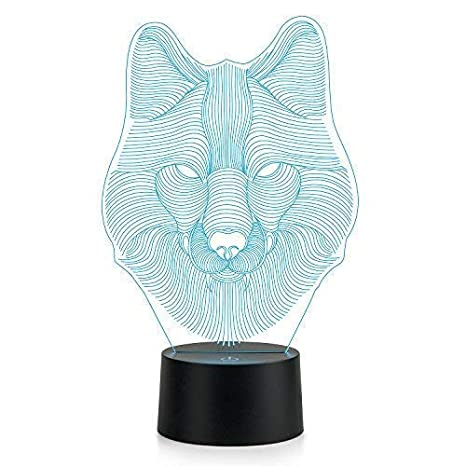 Animal table lamp Gold Flamingo Wolf Head Lamp 3d Lamp Led Night Light Animal Table Lamp Optical Touch Transform Color Joss Main Amazoncom Wolf Head Lamp 3d Lamp Led Night Light Animal Table Lamp