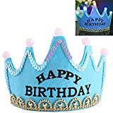 Lujuny LED Happy Birthday Crown Hat – Flashing Light Up Party Headband Cap Supplies Decorations (Blue)