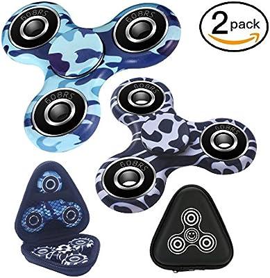 2 unidades de mano Fidget Spinner, suave y silencioso y rápido y equilibrado de cerámica rodamientos y duradero Fidget Spinner, pasado prueba de caída., Leopard and Camouflage Blue: Amazon.es: Deportes y aire