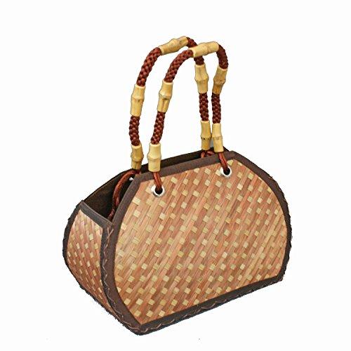 Bamboo Bag PALU brown Handtasche aus geflocht BambusRaffia Bag Straw Bag from Asia