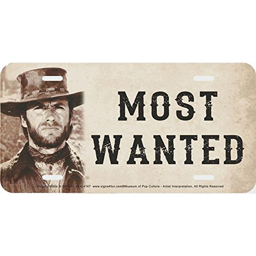 Signs 4 Fun S4L4147 Most Wanted Clint Eastwood, License Plate