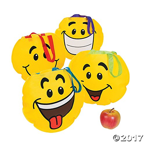 Fun Express Lot of 12 Yellow Smile Face Tote Party Favors Loot Bags
