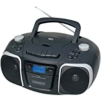 QFX J-72 Portable Top-loading CD/Cassette/MP3 Stereo Player and AM/FM Radio