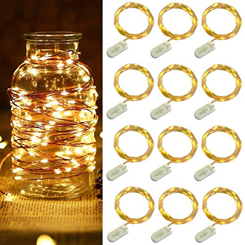 SuperDecor 12 Pack Fairy Lights Battery Operated LED String Lights,Warm White,6.65Ft 20LED Copper Wire String Lights,Waterproof Led Firefly Moon Lights for Wedding Mason Jars Teepee Christmas Decor
