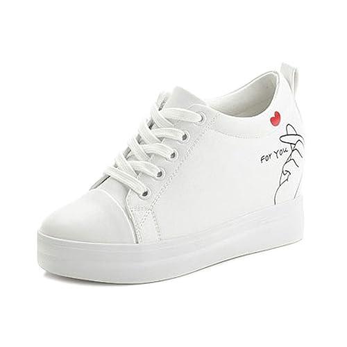 SOIXANTE Chaussure Femme Baskets Tennis Talon Compensé 7 CM Sneaker Lacet cbc2733d7e7a